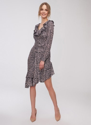 People By Fabrika Yılan Desenli Elbise Vizon
